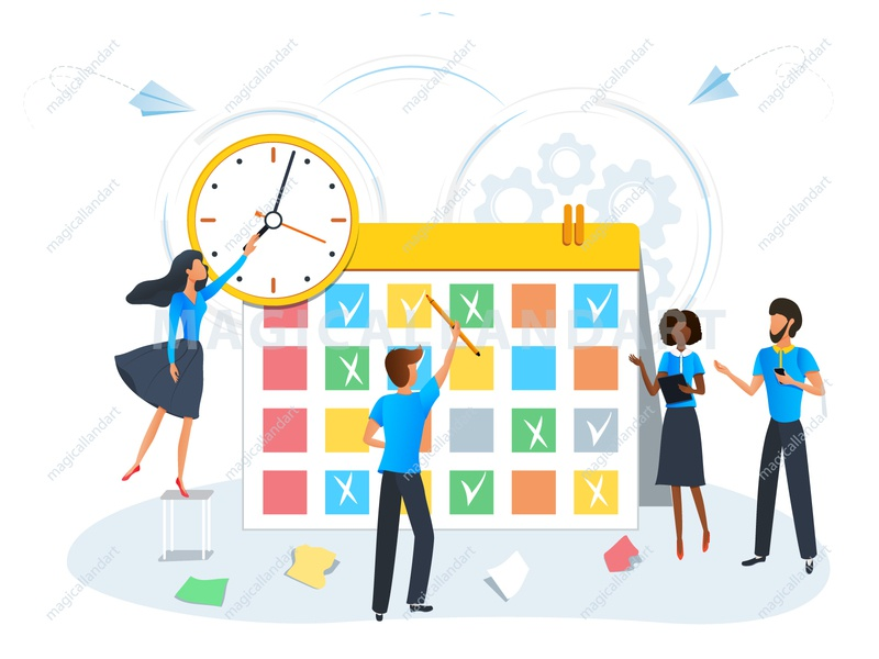 Busy business people planning a meeting with calendar team task strategy schedule project productive process plan people organize optimization office meeting management man finance magicallandart deadline clock business