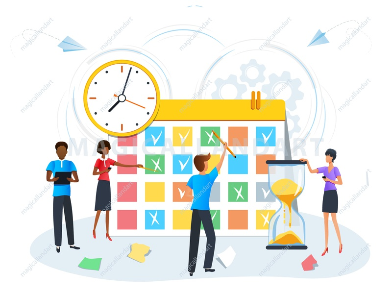 Planning schedule calendar reminder team task strategy schedule project productive process plan people organize optimization office meeting management man finance magicallandart deadline clock business