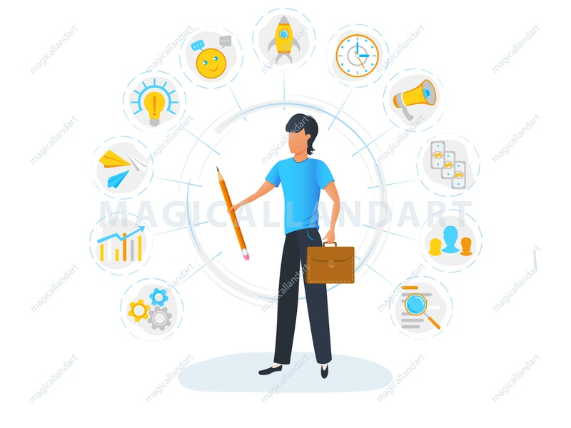 Businessman is standing and holding briefcase business man project organization office multitask management infographic icon freelance finance employee efficiency magicallandart effective corporate computer clock chat cash
