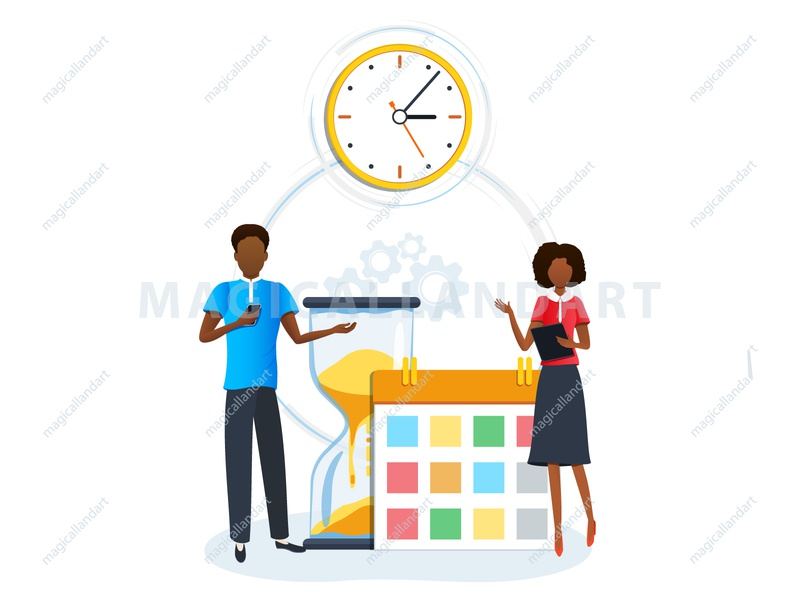 Concept of time management woman time team task strategy schedule project productive process plan people organize optimization office meeting management man finance magicallandart business