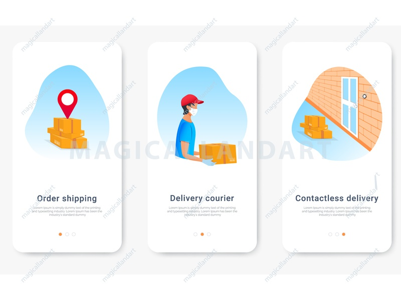 Safe contactless delivery order trasking store service gps box shipping delivery safe order contactless mask app mobile online man flat people business vector magicallandart