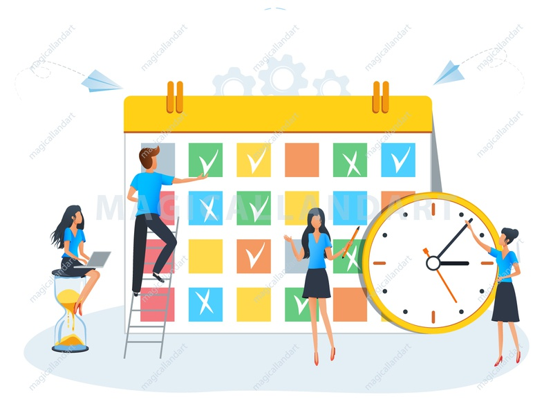 Business planning and effective time management illustration task team board character planner management flat cloud calendar office magicallandart vector business