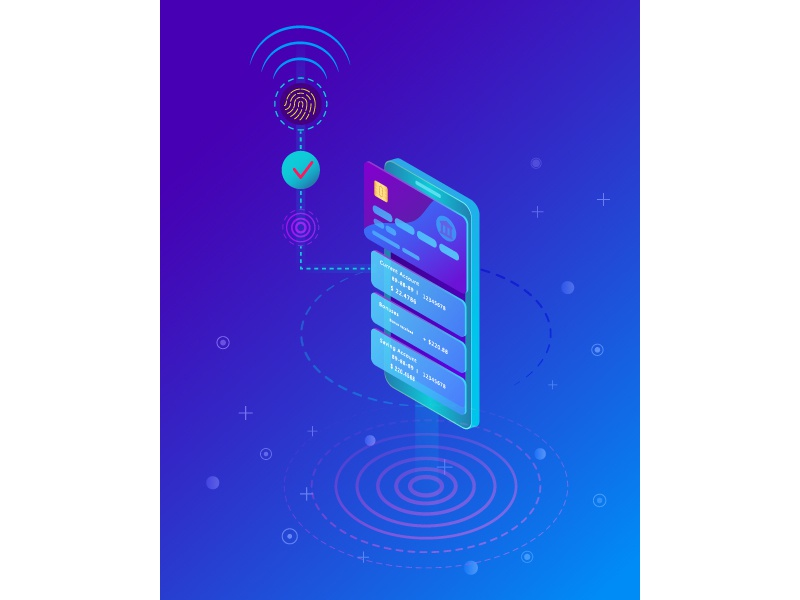 Fingerprint security payment transaction visa technology buy checkout mobile app transfer money scan authorization pay online credit card security payment fingerprint smartphone vector design flat adobe illustrator isometric