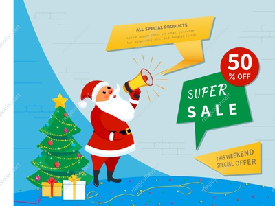 Santa Claus with megaphone, sale banner