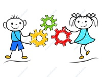 Funny doodle boy and girl holding gears