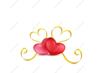Two pink and red hearts with