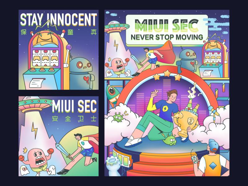 Illustration For MIUI SEC celebrate machine safe game flat character illustration