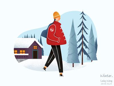 Winter tree season flat winter ui design app illustration