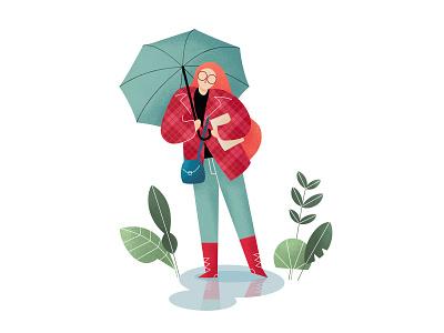 Raining day girl plant umbrella rainbow people rain summer season flat illustration