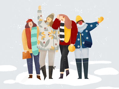 Friends in snow sisters friendship winter snow girl flat illustration