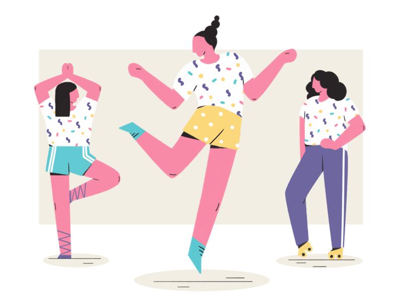 Activities girl sport yoga dance character design illustration