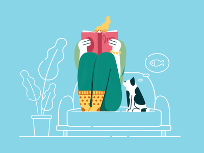 Reading plant cat room reading design flat girl illustration