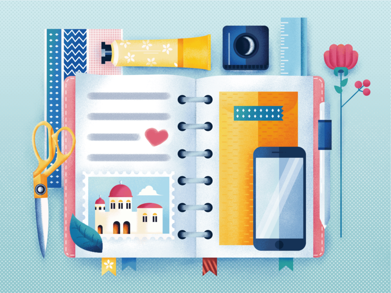 My Notebook colorful life notebook diary travel reading ui illustration