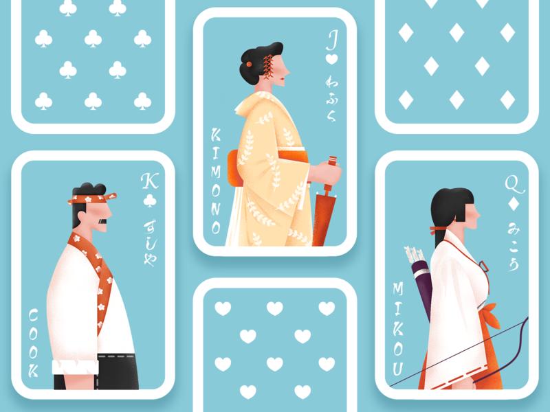 Poker cards / Character sushi girl japanese character flat ui illustration
