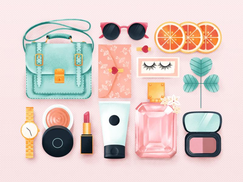 Girl' s Bag stuff watch bag fruit planet glasses noise make up girl flat illustration