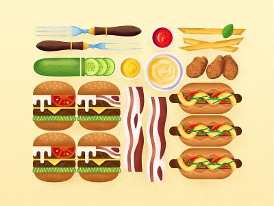 American Food noise food design ui flat illustration