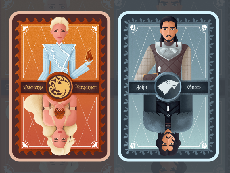 Character card for game of thrones card mother of dragons john snow game of thrones character flat ui illustration