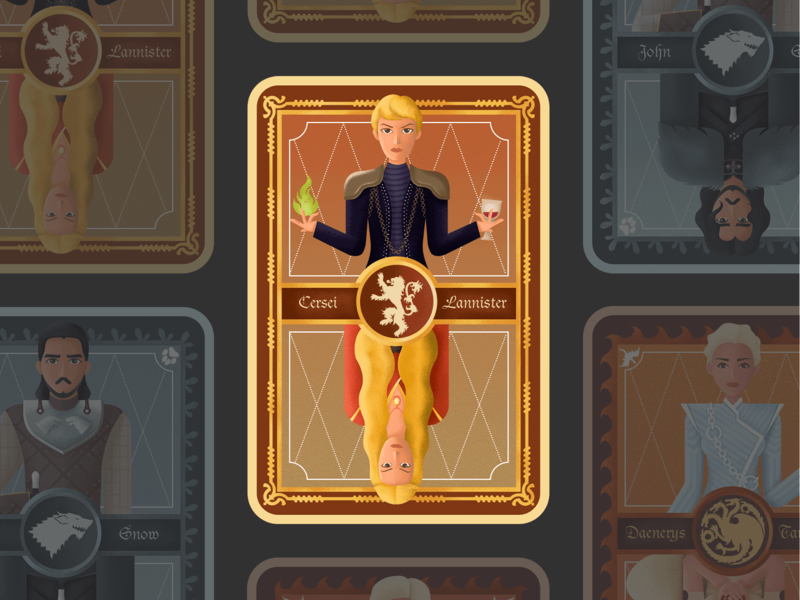 Character card for game of thrones——Cersei cersei game of thrones card character ui flat illustration