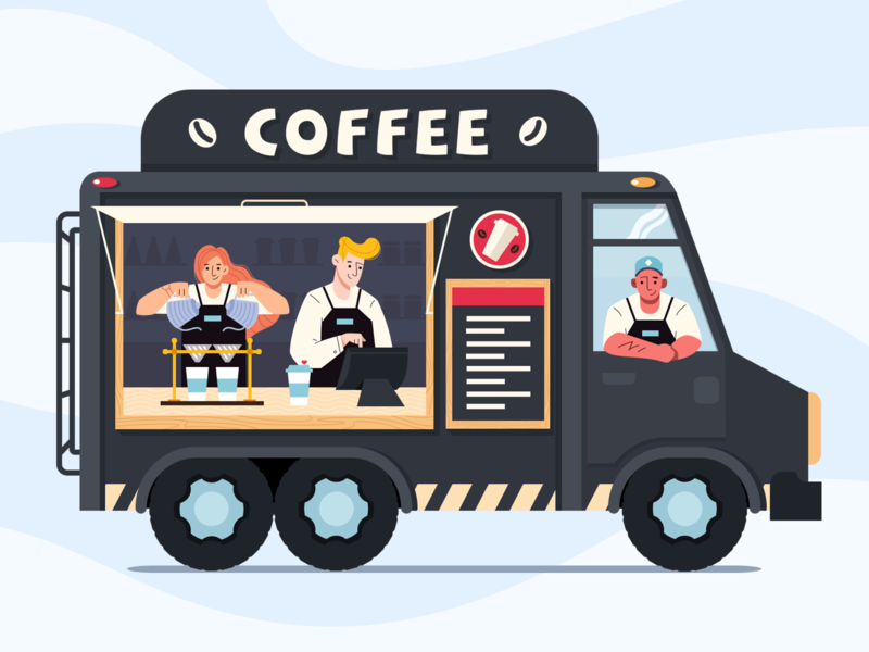 Moving cafe car cafe coffee ui character flat illustration