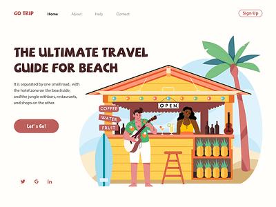The Travel Guide ui flat store sea trip travel beach web illustration