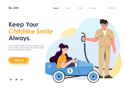 Keep Your Childlike Smile child car travel web character ui flat illustration