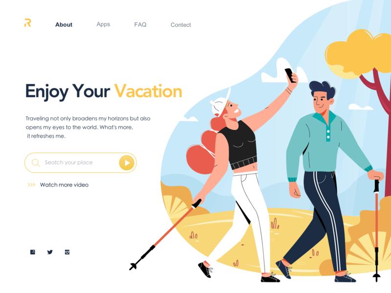 Web For Travel season travel web character flat ui illustration