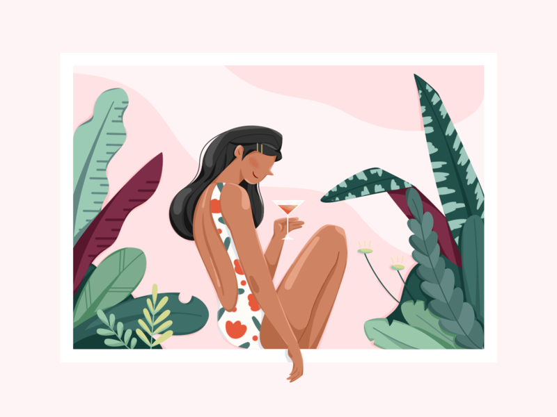 Summer Time swimming vacation ui plants summer character flat illustration