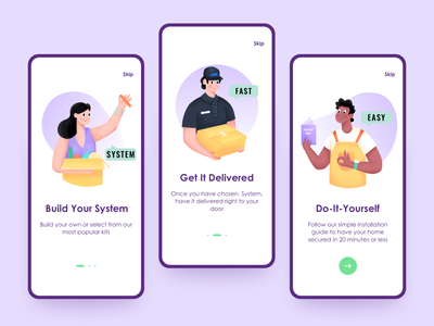 Three icons ux onboarding icon easy installation system delivery web character ui illustration
