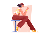 A girl playing phone man girl ui character flat illustration