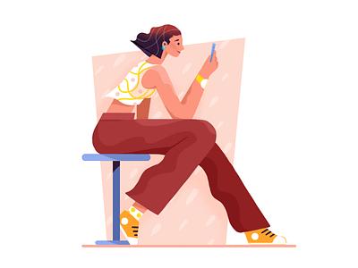 A girl playing phone man girl ui character flat illustration
