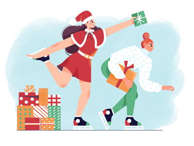 Merry Christmas gift presents skating christmas winter girl flat character illustration