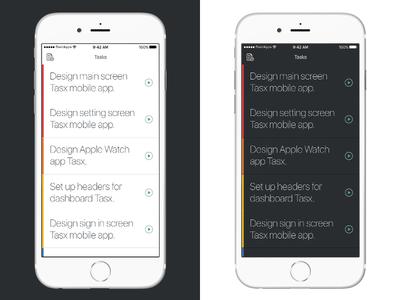 Light mode vs Dark mode app tasks daily dark white green management time project time management