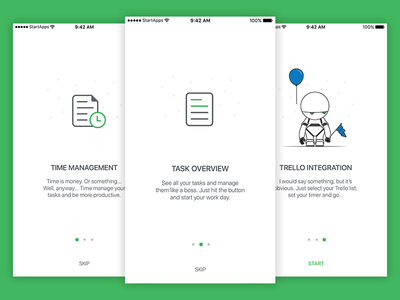 Time management app walkthrough task tasks time management project time management robot green white app
