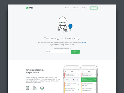 Time management app landing page mobile time landing page webpage web time management management robot green white app