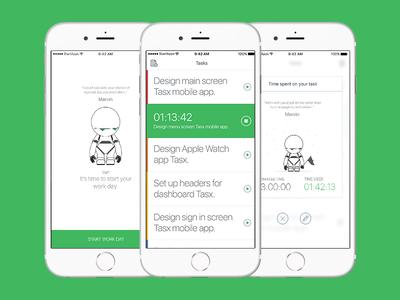 Tasx - time management app case study task tasks time management project time management robot green white app