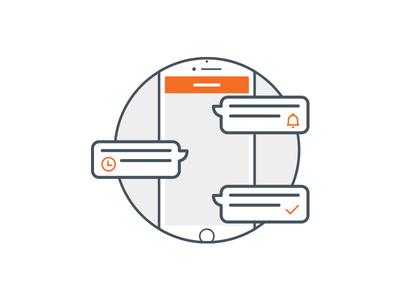 App onboarding help schedule reminder chat iphone white orange walkthrough onboarding mobile app
