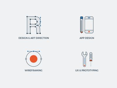 Web graphics prototyping wireframing ux app mobile gray blue orange website web design icons