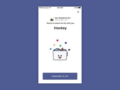 Easylistr app - list share screen lists list purple twitter illustration mobile app