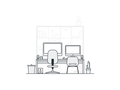 Home Office table white gray speakers trash imac computer chair office illustration