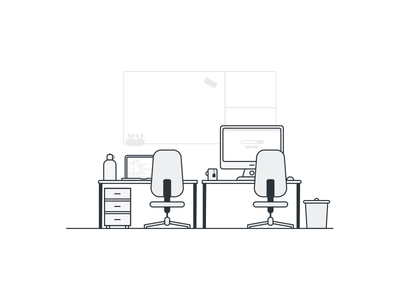 Home Office No.2 table white gray speakers trash imac computer chair office illustration