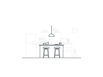 Home Office No.5 clock books lamp white gray chair stool microwave coffee machine kitchen office illustration