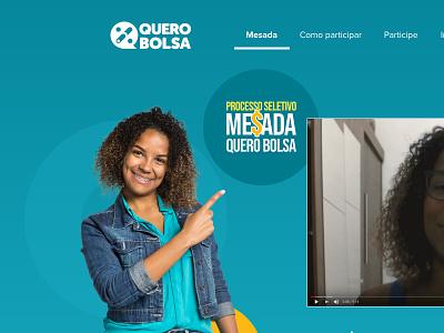 Processo Seletivo Mesada Quero Bolsa education quero desktop mobile promo ui ux page landing