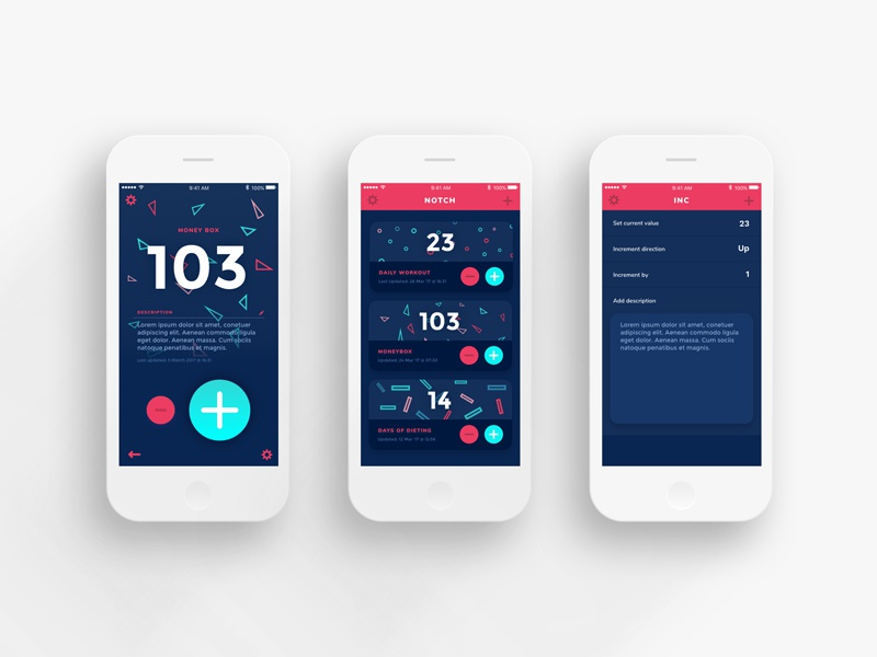 Notch Counting App Screens ios shapes geometric notch design ui app counting