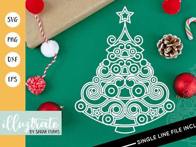 Christmas Tree SVG Cut File christmas illustration
