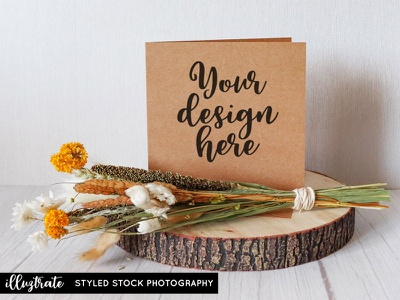 Greeting Card with Dried Flowers greeting card kraft card