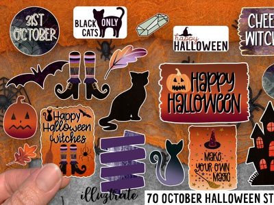 October Stickers scary print and cut