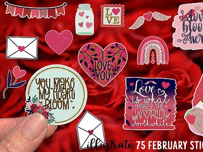 February Stickers love sticker design