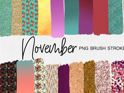 November PNG Brush Strokes pumpkin sublimation