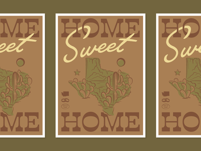 Home Sweet Home prickly pear saguaro dusty lonestar greetingcard card design card desert cactus texas illustration design