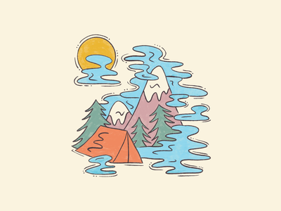 Head in The Clouds pacific northwest pnw forest trees mountains camping tent cloudy clouds illustration design